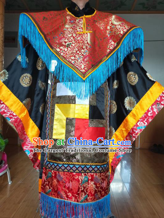 Chinese Zang Nationality Priest Costumes Traditional Tibetan Ethnic Folk Dance Clothing Complete Set