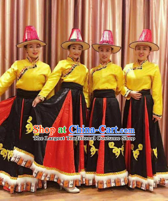 Chinese Zang Nationality Folk Dance Costumes Traditional Tibetan Ethnic Dress for Women