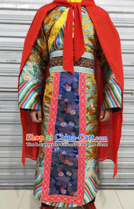 Chinese Ancient Emperor Golden Costumes Traditional Tang Dynasty Court Clothing for Men