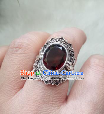 Chinese Zang Nationality Wine Red Crystal Rings Handmade Traditional Tibetan Ethnic Jewelry Accessories for Women