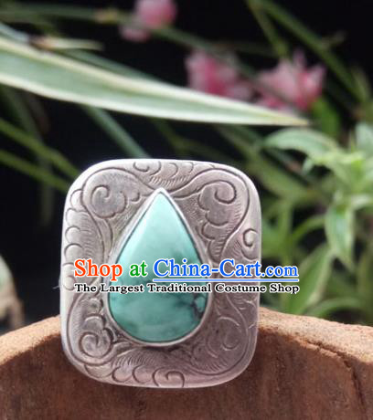 Chinese Zang Nationality Kallaite Silver Rings Handmade Traditional Tibetan Ethnic Jewelry Accessories for Women