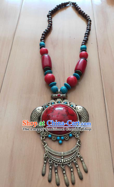 Handmade Chinese Zang Nationality Necklace Traditional Tibetan Ethnic Jewelry Accessories for Women