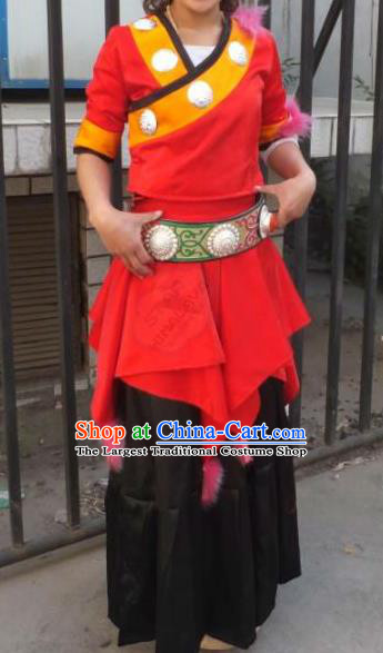 Chinese Zang Nationality Costumes Traditional Tibetan Ethnic Folk Dance Dress for Women