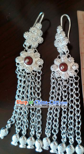 Handmade Chinese Zang Nationality Fishes Tassel Silver Earrings Traditional Tibetan Ethnic Accessories for Women
