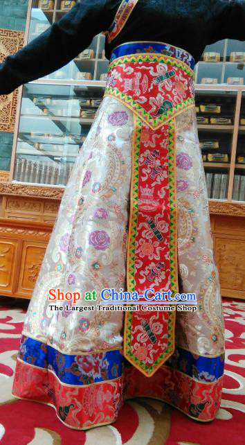 Chinese Zang Nationality Dance Costume Traditional Tibetan Ethnic White Brocade Skirt for Women