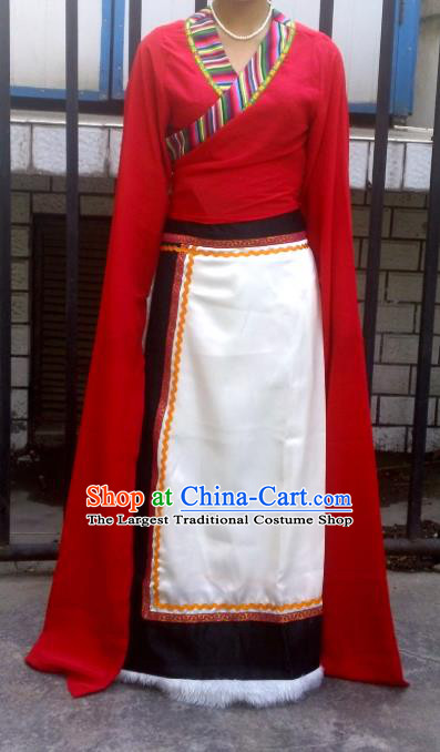 Chinese Zang Nationality Folk Dance Costume Traditional Tibetan Ethnic Dress for Women