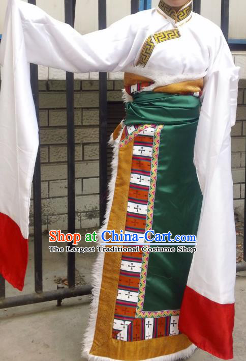 Chinese Zang Nationality Folk Dance Costume Green Tibetan Robe Traditional Ethnic Dress for Women