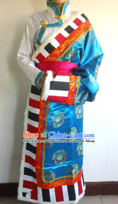 Chinese Zang Nationality Folk Dance Costume Blue Tibetan Robe Traditional Ethnic Dress for Women
