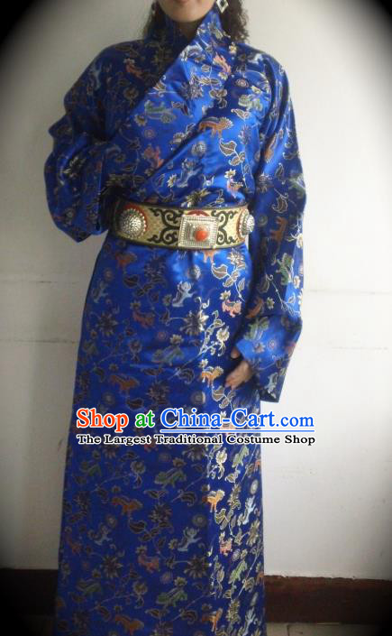 Chinese Zang Nationality Folk Dance Costume Royalblue Tibetan Robe Traditional Ethnic Dress for Women