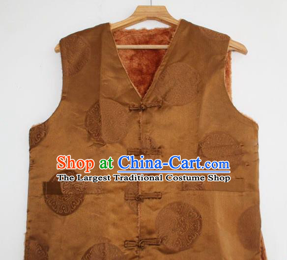 Chinese Tibetan Buddhism Woolen Vest Traditional Monk Waistcoat Upper Outer Garment for Men