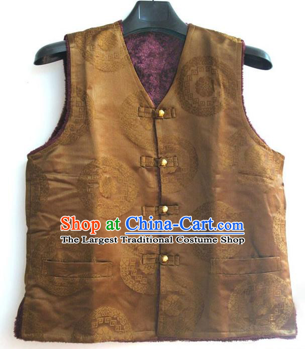Chinese Tibetan Buddhism Woolen Purple Vest Traditional Monk Waistcoat Upper Outer Garment for Men