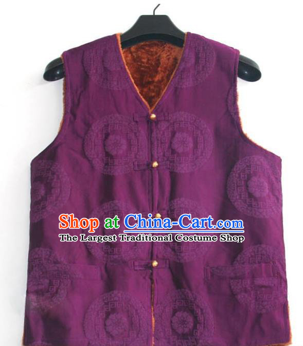 Chinese Tibetan Buddhism Purple Woolen Vest Traditional Monk Waistcoat Upper Outer Garment for Men