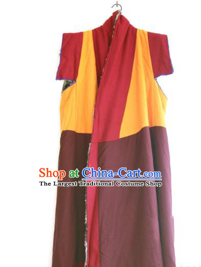 Chinese Tibetan Buddhism Winter Long Vest Traditional Monk Cape for Men