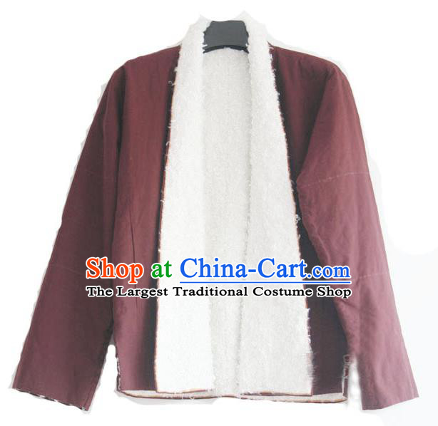 Chinese Tibetan Buddhism Lamb Wool Jacket Traditional Monk Upper Outer Garment for Men