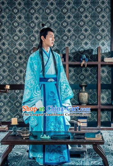 Chinese Ancient Nobility Childe Historical Drama Love is More Than A Word Blue Costume and Headpiece for Men