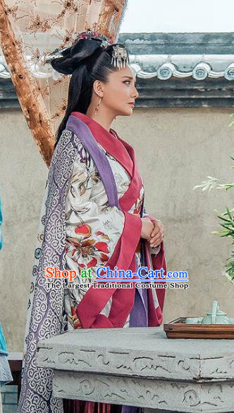 Chinese Drama Love is More Than A Word Ancient Royal Princess Chen Jing Costume and Headpiece for Women