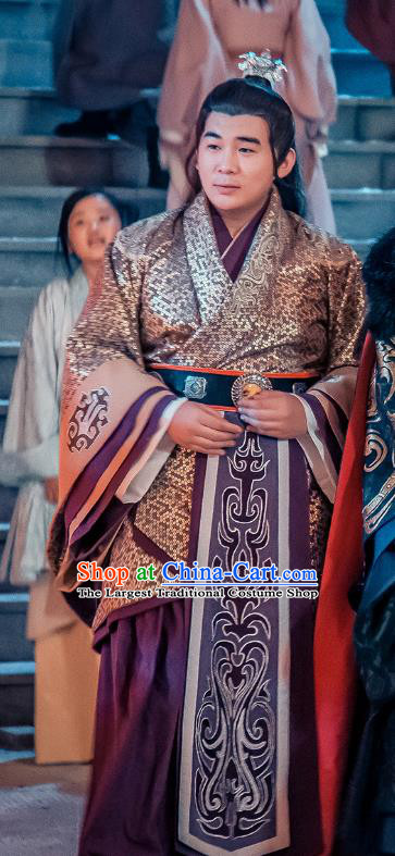 Chinese Ancient Rich Steward Historical Drama Love is More Than A Word Costume and Headpiece for Men