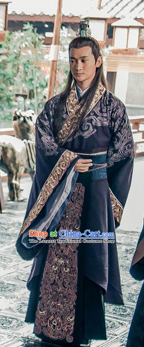 Chinese Ancient Noble Prince Historical Drama Love is More Than A Word Costume and Headpiece for Men