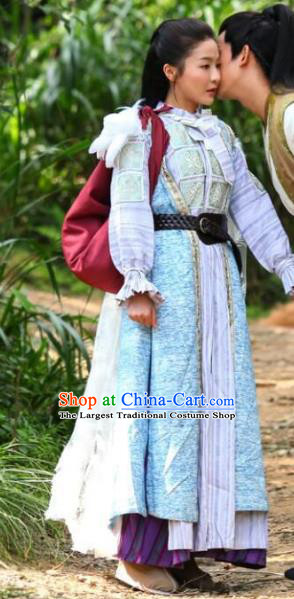 Chinese Drama Devastating Beauty Ancient Female Swordsman Cheng Yelan Costume and Headpiece for Women