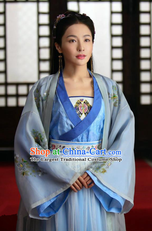 Chinese Drama Devastating Beauty Ancient Noble Lady Cheng Yelan Blue Costume and Headpiece for Women