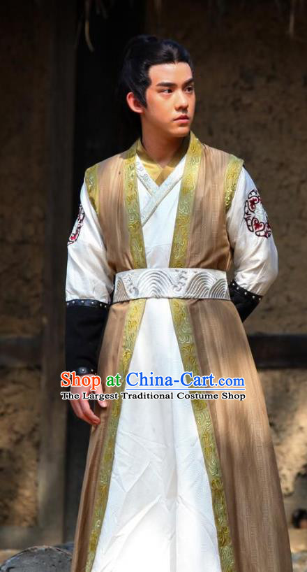 Chinese Ancient Swordsman Historical Drama Devastating Beauty Costume and Headpiece for Men