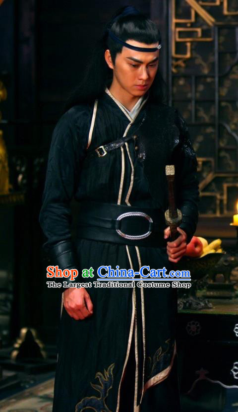 Chinese Ancient Swordsman Geng Zijie Historical Drama Devastating Beauty Costume and Headpiece for Men
