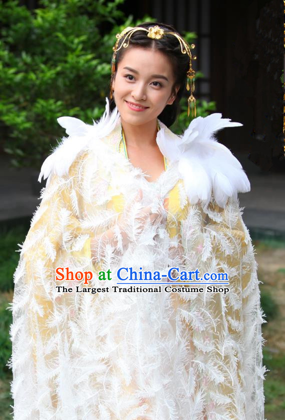 Chinese Drama Devastating Beauty Ancient Noble Lady Jing Nanyi Feather Costume and Headpiece for Women