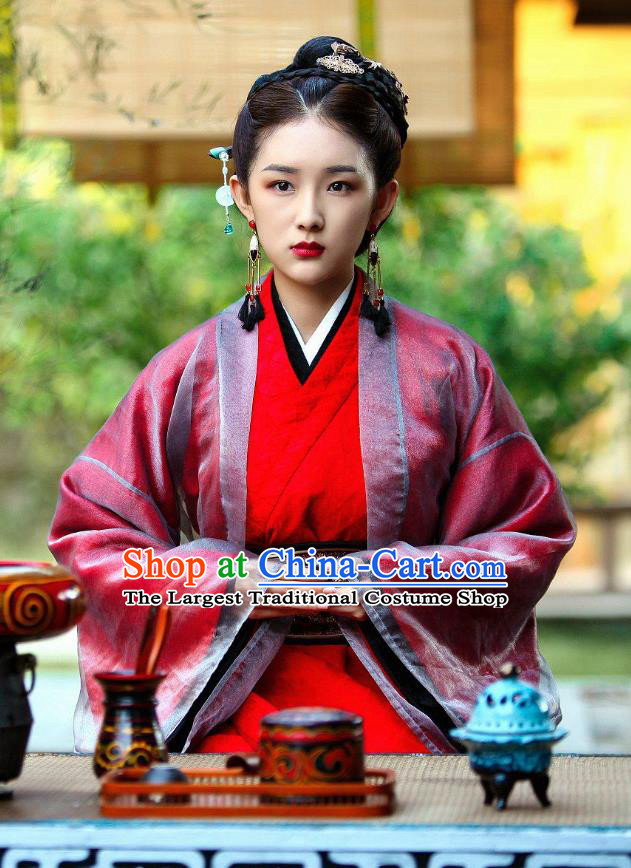 Drama Devastating Beauty Chinese Ancient Noble Concubine Han Lu Costume and Headpiece for Women