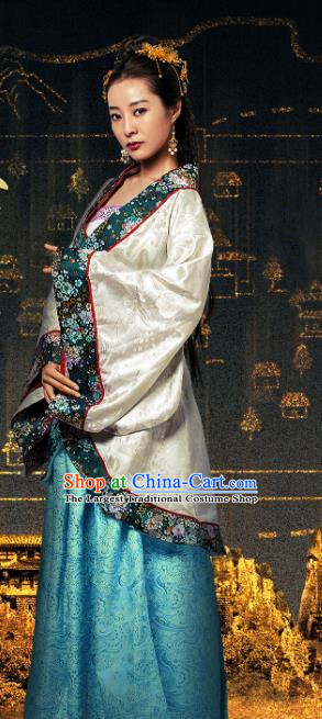 Chinese Ancient Noble Lady Hanfu Dress Drama Devastating Beauty Huangpu Fangpin Costume and Headpiece for Women