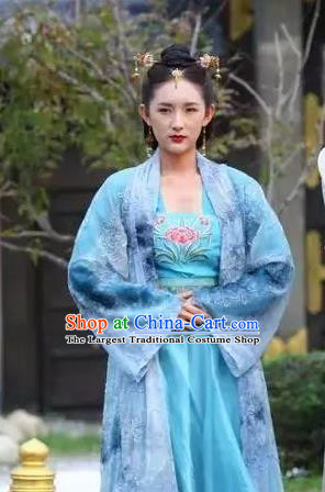 Chinese Ancient Noble Concubine Blue Hanfu Dress Drama Devastating Beauty Han Lu Costume and Headpiece for Women