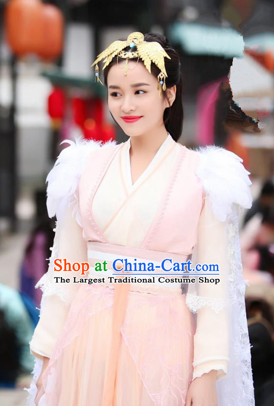 Chinese Drama Devastating Beauty Ancient Patrician Lady Jing Nanyi Pink Costume and Headpiece for Women