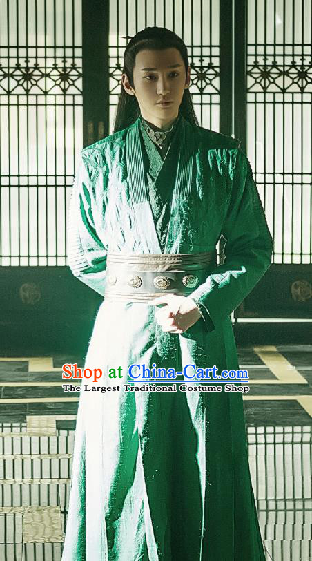 Chinese Ancient Prince Historical Television Bloody Romance Qu Chuxiao Costume and Headpiece for Men