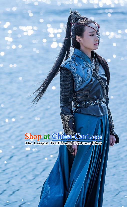 Chinese Historical Television Bloody Romance Ancient Female Assassin Swordsman Wan Mei Dress and Headpiece for Women