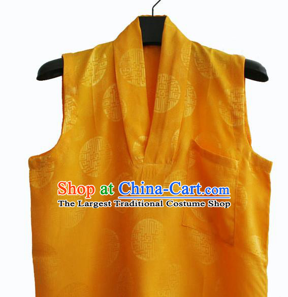 Chinese Tibetan Buddhism Golden Satin Vest Traditional Monk Waistcoat Upper Outer Garment for Men