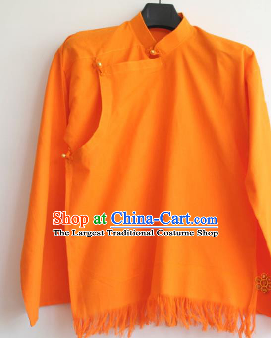 Chinese Tibetan Buddhism Orange Shirt Traditional Monk Upper Outer Garment for Men