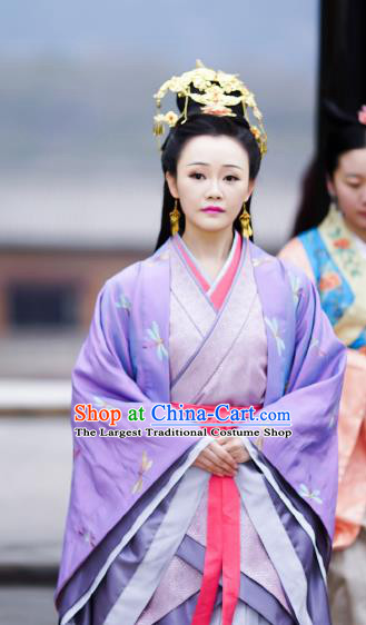 Chinese Ancient Imperial Consort Costume Historical Television The Ugly Queen Xia Yingchun Dress and Headpiece for Women