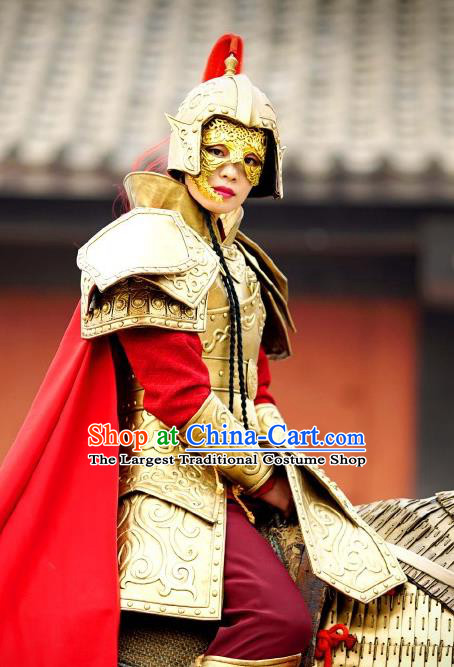 Chinese Ancient Spring and Autumn Period Empress Armor Costume Historical Television The Ugly Queen Zhong Wuyan Dress and Headpiece for Women