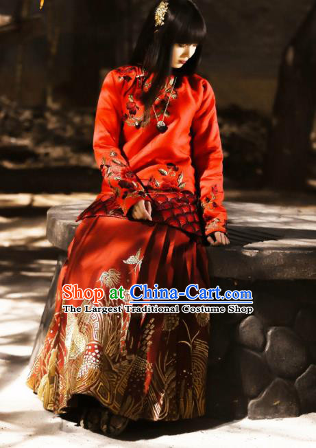 Chinese Ancient Fairy Costume Drama WuXin The Monster Killer Yue Qiluo Qing Dynasty Red Dress and Headpiece for Women