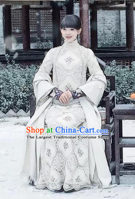 Republic of China Ancient Noble Mistress Drama WuXin The Monster Killer Yue Qiluo Qipao Dress and Headpiece for Women