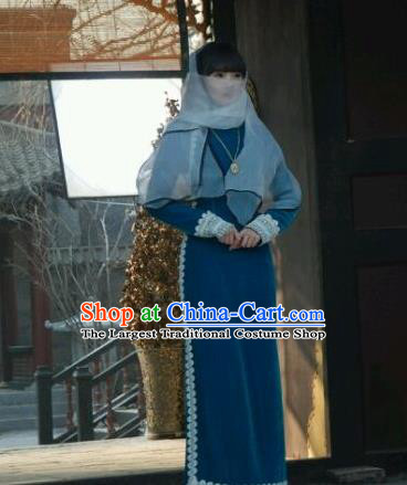 Drama WuXin The Monster Killer Republic of China Ancient Noble Mistress Yue Qiluo Qipao Dress and Headpiece for Women