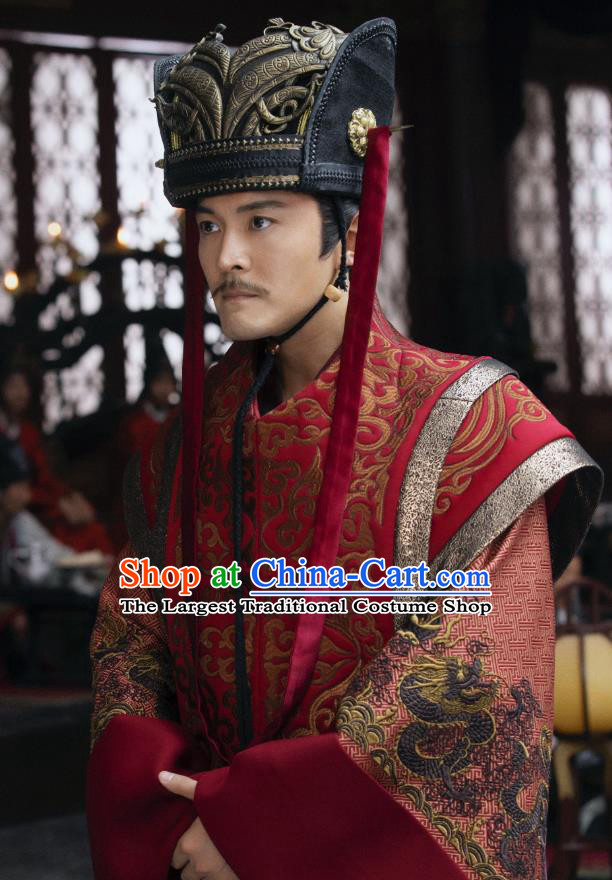 Chinese Ancient Imperial Guard Shen Zhong Drama Qing Yu Nian Joy of Life Replica Costume and Headpiece Complete Set
