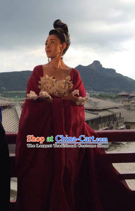 Chinese Ancient Crown Princess Red Hanfu Dress Drama Go Princess Go Costume and Headpiece for Women