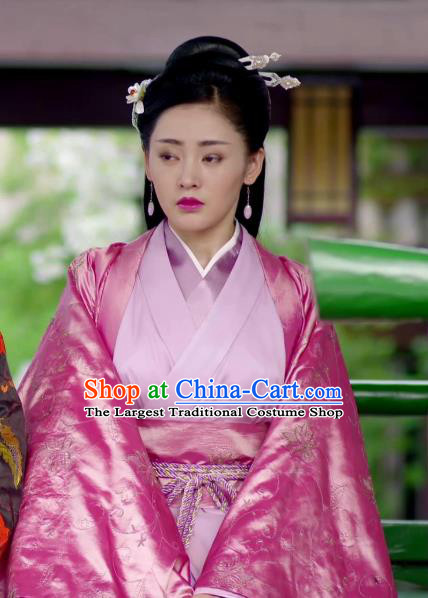Chinese Ancient Crown Princess Pink Hanfu Dress Drama Go Princess Go Costume and Headpiece for Women