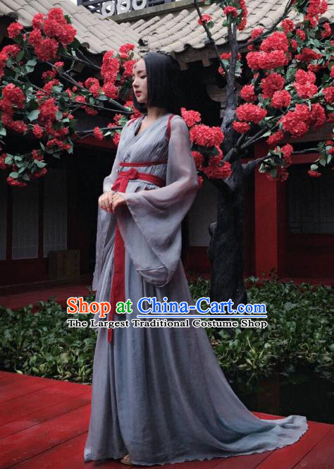 Chinese Ancient Imperial Consort Grey Hanfu Dress Drama Go Princess Go Costume and Headpiece for Women