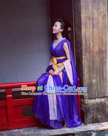 Chinese Ancient Imperial Consort Purple Hanfu Dress Drama Go Princess Go Costume and Headpiece for Women
