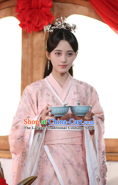 Chinese Ancient Patrician Lady Han Yunxi Pink Hanfu Dress Drama Legend of Yun Xi Costume and Headpiece for Women