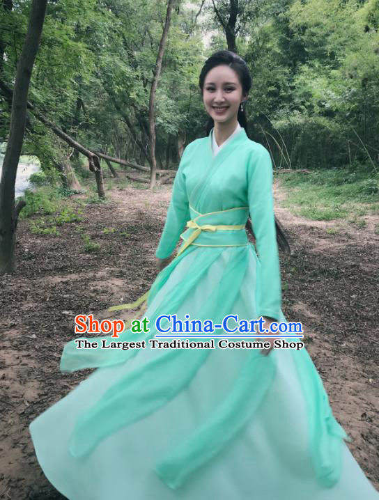 Chinese Ancient Princess Green Hanfu Dress Drama Legend of Yun Xi Costume and Headpiece for Women