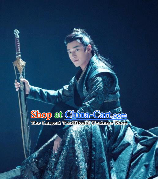 Chinese Ancient Swordsman Tang Li Clothing Historical Drama Legend of Yun Xi Costume and Headpiece for Men