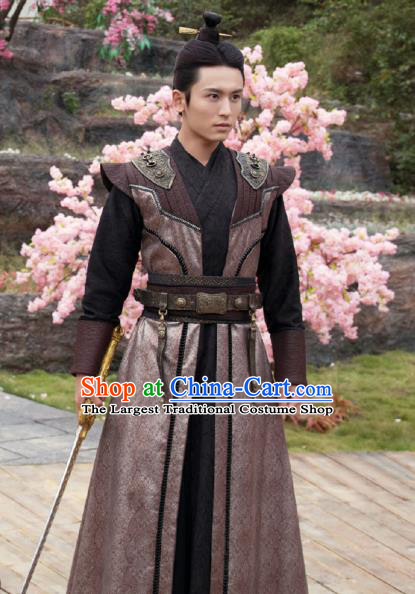 Chinese Ancient Prince Qin Long Feiye Clothing Historical Drama Legend of Yun Xi Costume and Headpiece for Men