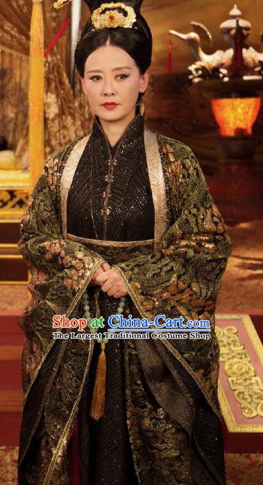 Chinese Ancient Empress Dowager Hanfu Dress Drama Legend of Yun Xi Costume and Headpiece for Women
